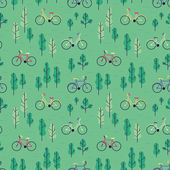Seamless pattern with bicycles and trees. — Stock Vector