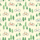 Seamless pattern with bicycles and trees. — Vettoriale Stock