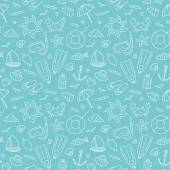 Seamless marine pattern. — Stock Vector