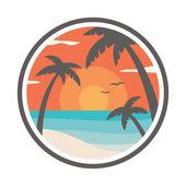 Zonsondergang op het strand. — Stockvector