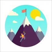 Mountaineer climb a snow mountain. — Stock Vector