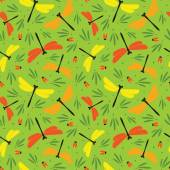 Seamless summer pattern with dragonflies and beetles. — Stock Vector