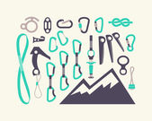 Climbing equipment vector set. — Stock Vector