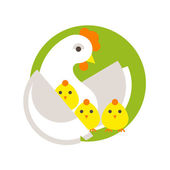 Hen and three chicks. — Stock Vector