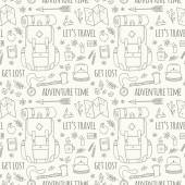 Hand drawn seamless pattern with adventure travel icons. — Stock Vector