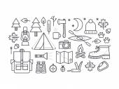 Set of camping equipment symbols and icons. — Stock Vector