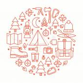 Collection camping equipment symbols and icons. — Stock Vector