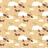 Seamless pattern of flying birds with green branch and clouds. — Stock Vector