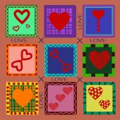 Nine hearts on a postcard to Valentine's Day — Stock Vector