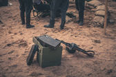 Ammunition box and machine gun — Stock Photo