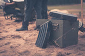Ammunition box on the ground — Stock Photo