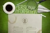 Personal information form concept on green blackboard with coffee cup — Stock Photo