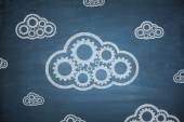 Cloud computing concept on Blackboard — Stock Photo