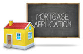 Mortgage application text on blackboard with 3d house — Stock Photo