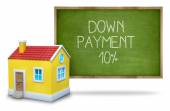 Down payment 10 percent on Blackboard with 3d house — Stock Photo