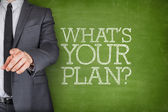 Whats your plan on blackboard with businessman — Stock Photo