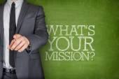 Co Twoja misja na tablicy z biznesmen — Zdjęcie stockowe