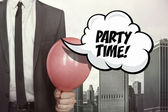 Party time text on speech bubble — Stock Photo