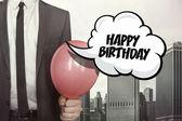 Happy birthday text on speech bubble — Stock Photo