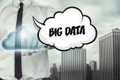 Big data text on cloud computing theme with businessman — Stock Photo