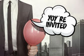 Youre invited text on speech bubble — Stock Photo