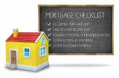 Mortgage checklist concept on blackboard with 3d house — Stock Photo