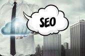 SEO text on cloud computing theme with businessman — Stock Photo