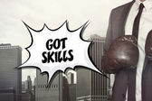 Got skills text with businessman wearing boxing gloves — Stock Photo
