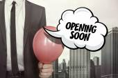 Opening soon text on speech bubble — Stock Photo