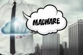 Malware text on cloud computing theme with businessman — Stock Photo