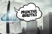 Predictive analytics text on cloud computing theme with businessman — Stock Photo