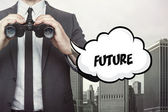Future text on speech bubble with businessman holding binoculars — Stock Photo