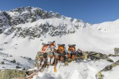 Comparison of crampons in the mountains — Stock Photo