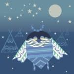 Fantastic night ornament owl — Stock Vector #61572645