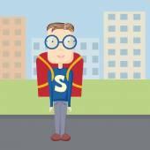 fun pupil superman outdoor — Stock Vector