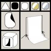 Photographer studio equipment set — Stock Vector
