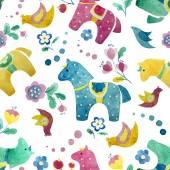 Funny horse wallpaper pattern flower bird — Stock Vector
