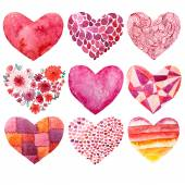 Valentines day watercolor heart holiday love object — ストック写真