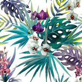 Pattern orchid hibiscus leaves watercolor tropics — Stock Photo