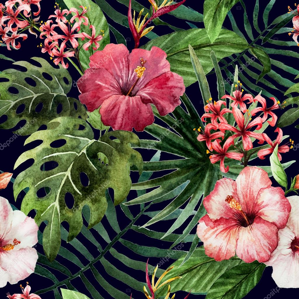 How To Do A Wall Mural Pattern Orchid Hibiscus Leaves Watercolor Tropics Stock