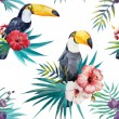 Tropical pattern with birds — Stock Vector #63184053
