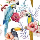 Tropical pattern with birds — Stock Vector
