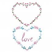 Watercolor wreath hearts — Stock Photo