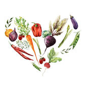 Watercolor heart of  vegetables — Stock Photo