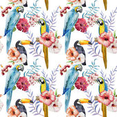 Tropical  pattern with birds — Stock Photo