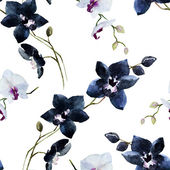 Watercolor  orchid pattern — Stock Photo