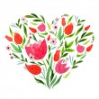 Watercolor greeting card with  heart and  flowers — Stock Vector #63195375