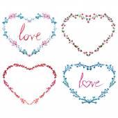 Watercolor wreath hearts — Stock Vector