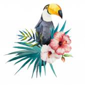 Watercolor toucan with flower — Stock Vector