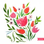 Watercolor greeting card with   flowers — Stockvektor